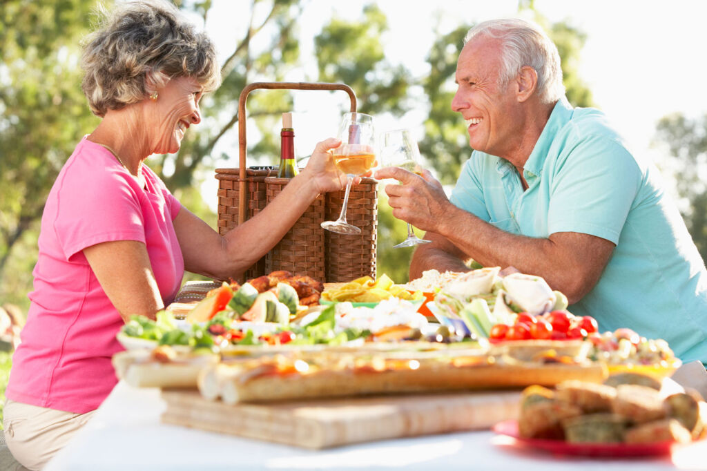 Older couple enjoying some al fresco dining