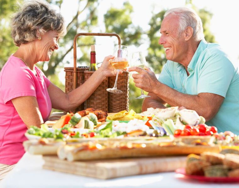 Older couple enjoying some al fresco dining