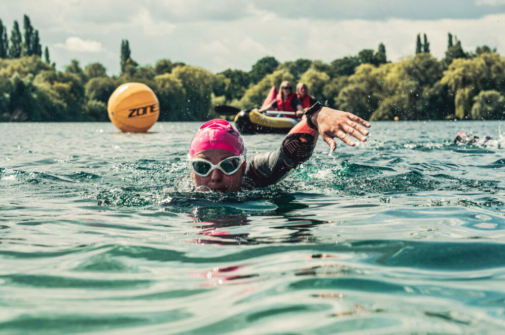 Open water swimming lessons in Shepperton Lake