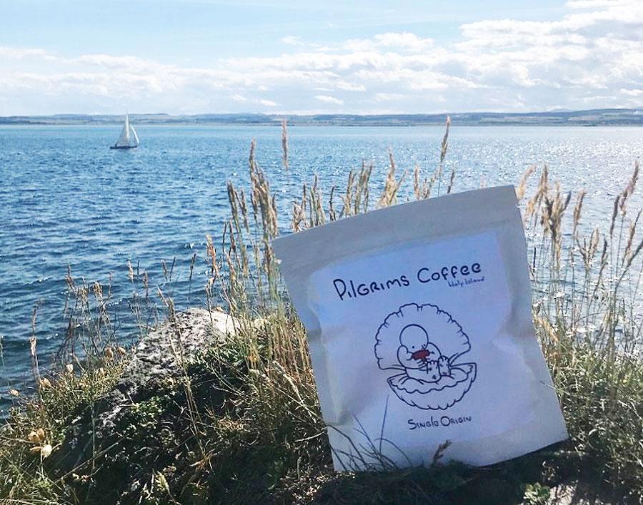 Pilgrims Coffee on the Lindisfarne seashore