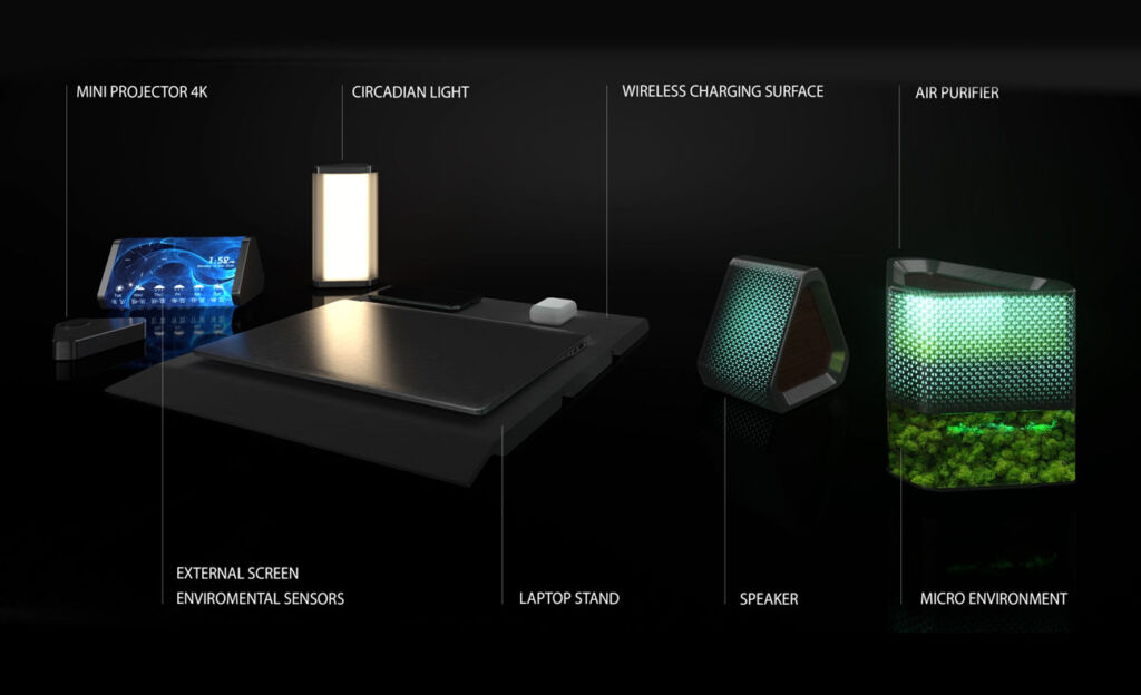 The components making up the Pininfarina Architettura Smart Working Kit Concept