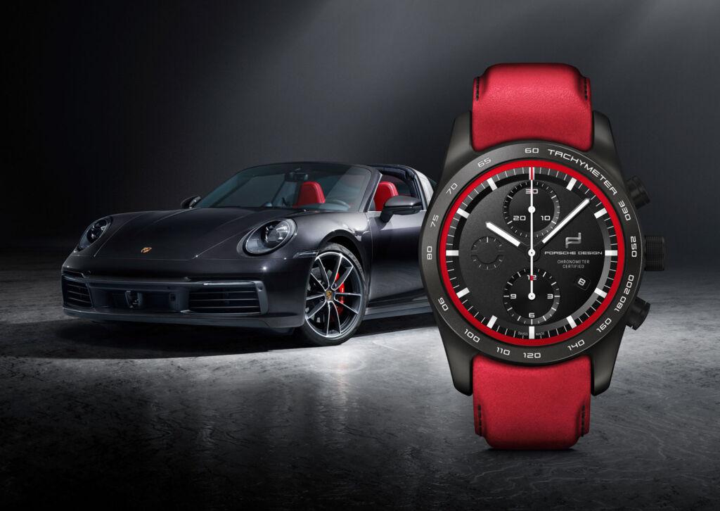 Porsche 911 with Red Porsche Design Chronograph Watch