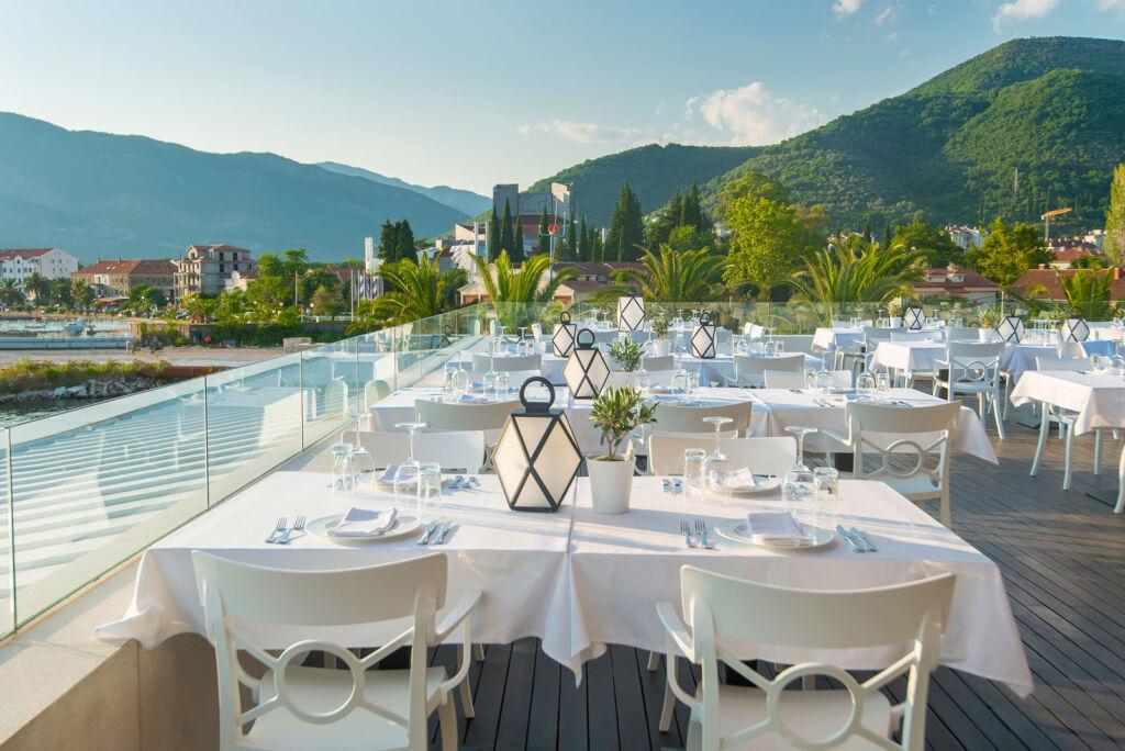 Outdoor dining at Porto Montenegro