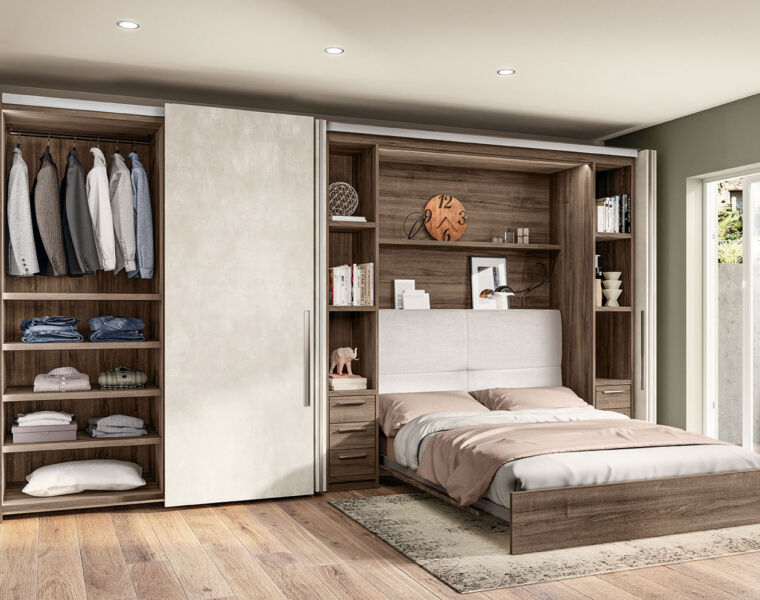 There is ample storage space in the bedroom module