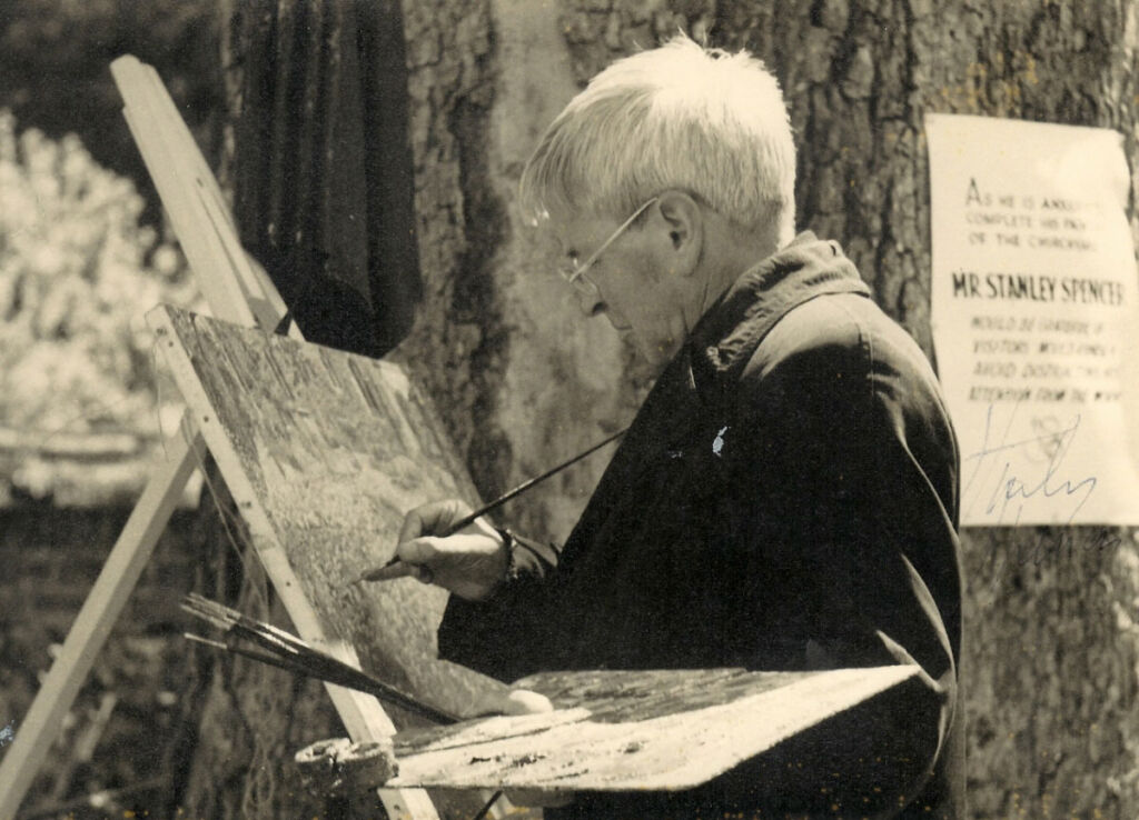 Stanley Spencer painting in Cookham church yard