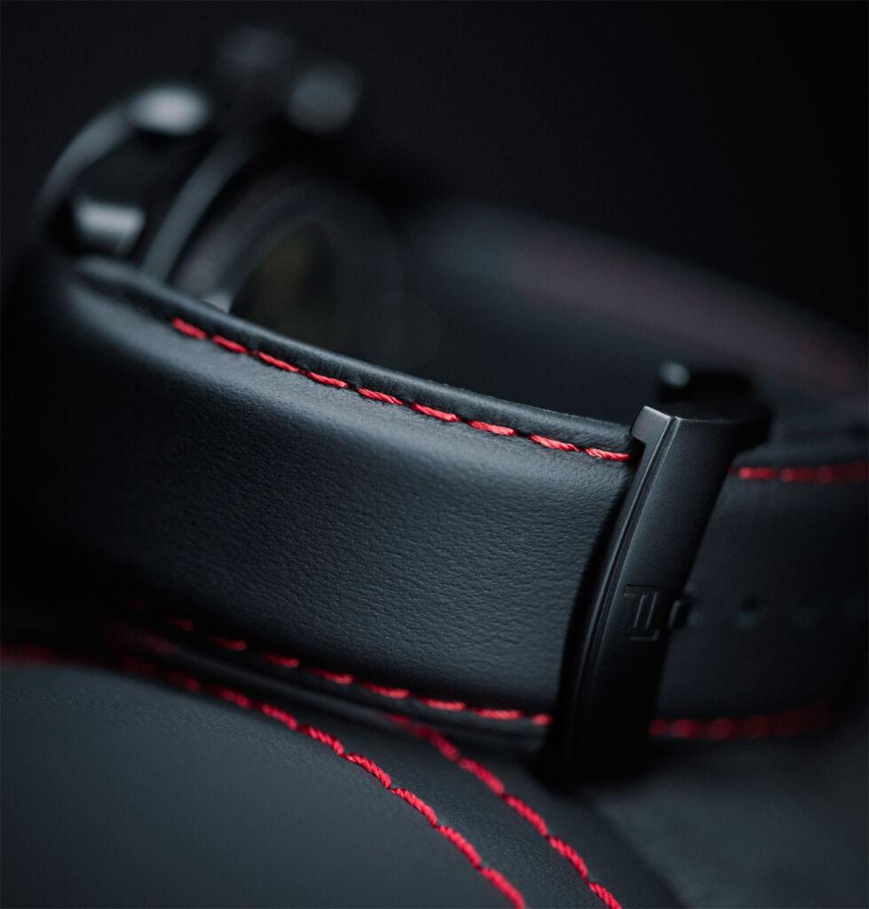Stitching on a Porsche Design leather watch strap