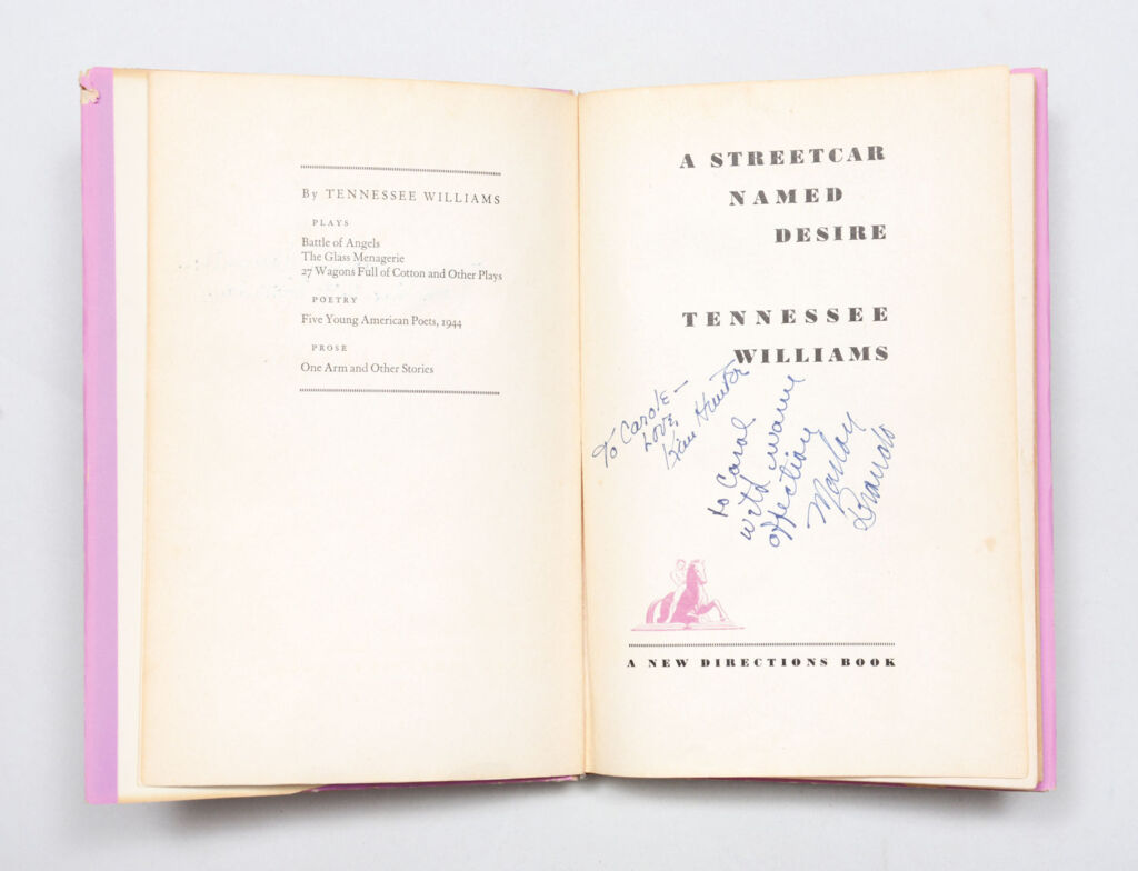 Inscribed copy of Tennessee Williams' A Streetcar Named Desire