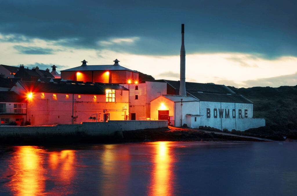 The Bowmore Distillery in Scotland at night