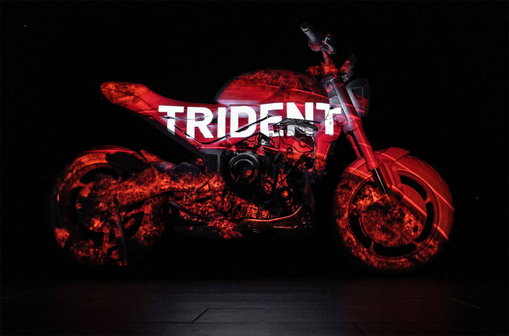 Trident Design Prototype with logo projected on it