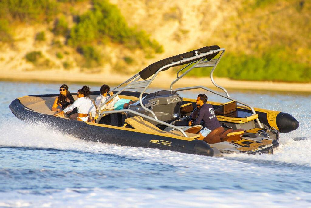 Wave Boat Z-line being powered by a jet ski