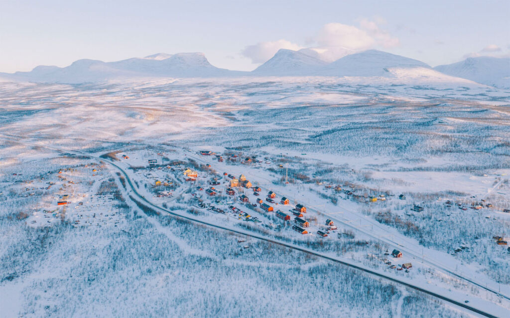 The town of Abisko in Sweden durinfg a snowy winter