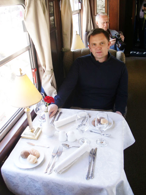 Andy Brabin trying luxury train travel in Peru