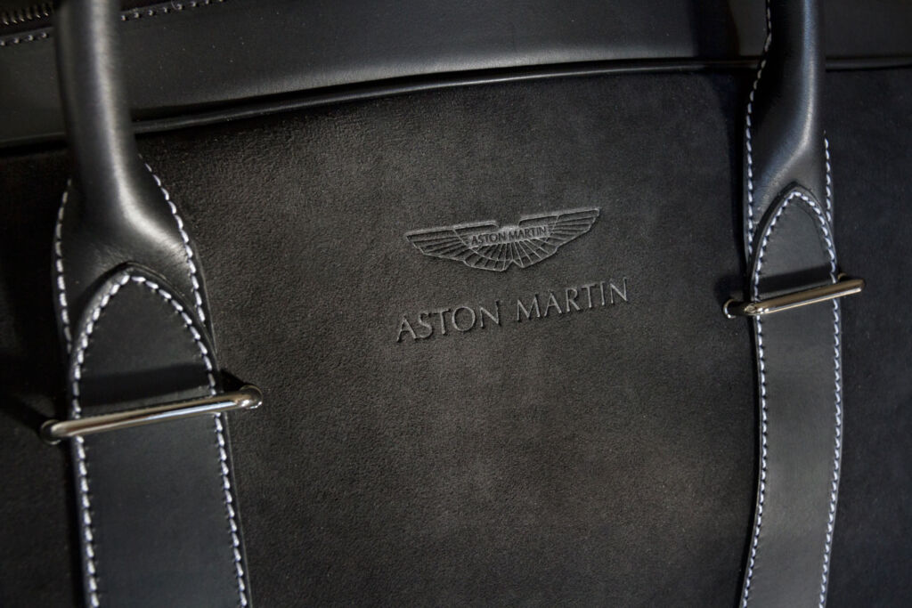 Aston Martin black leather suede holdall