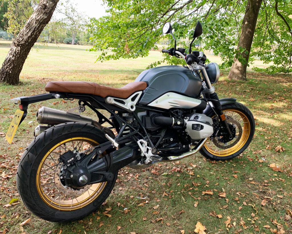 The BMW R nineT Scrambler viewed from the side