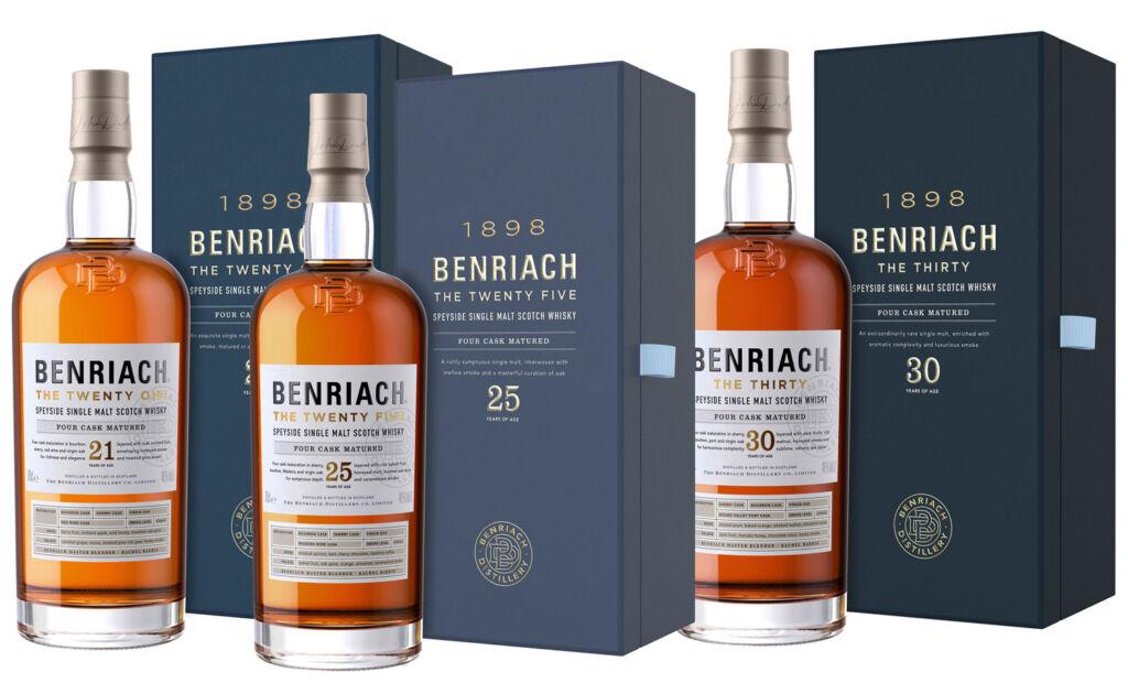 Benriach Twenty, Twenty Five and Thirty bottles