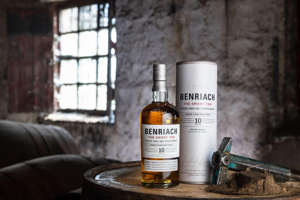 Bottle of Benriach The Smoky Ten on a barrel