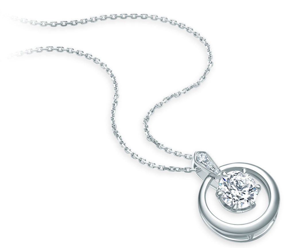 Chow Tai Fook necklace in white gold from the T Mark Lodestar Collection