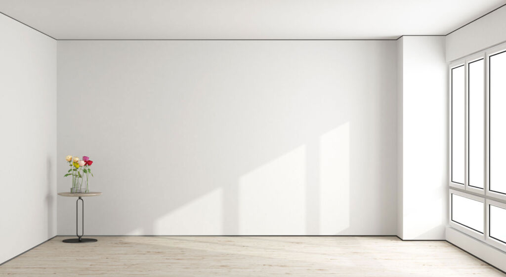 An empty flat with white walls