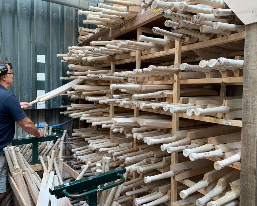 A rack of pre-cut cricket bat clefts