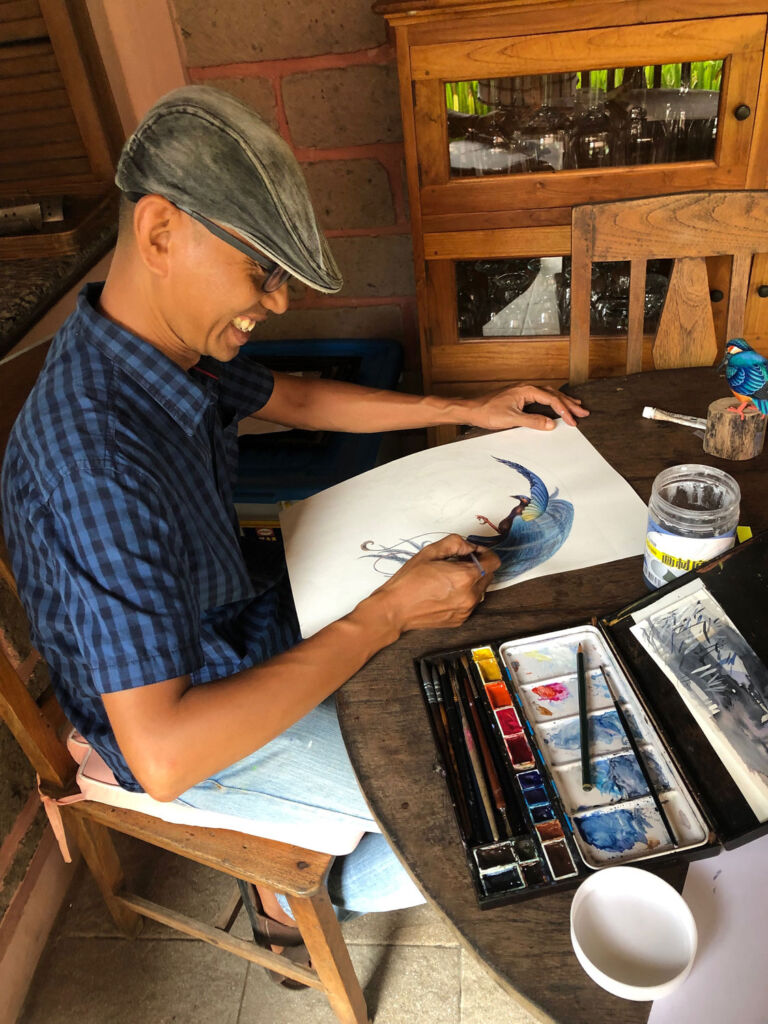 In-house artist Sulis experimenting with watercolours for design