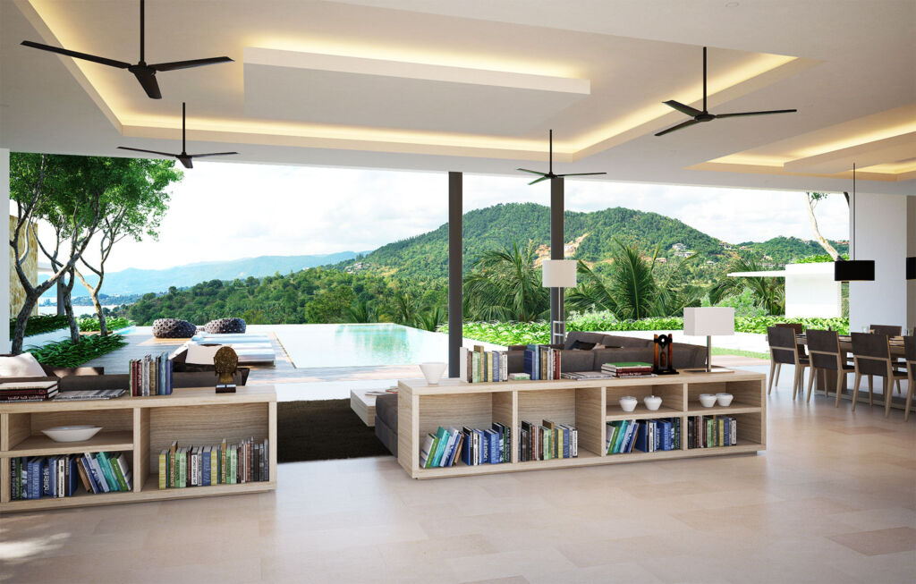 The open plan spaces overlook the infinity pool at the villa
