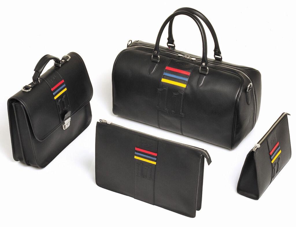 Jordan bespoke Leather Luggage in black