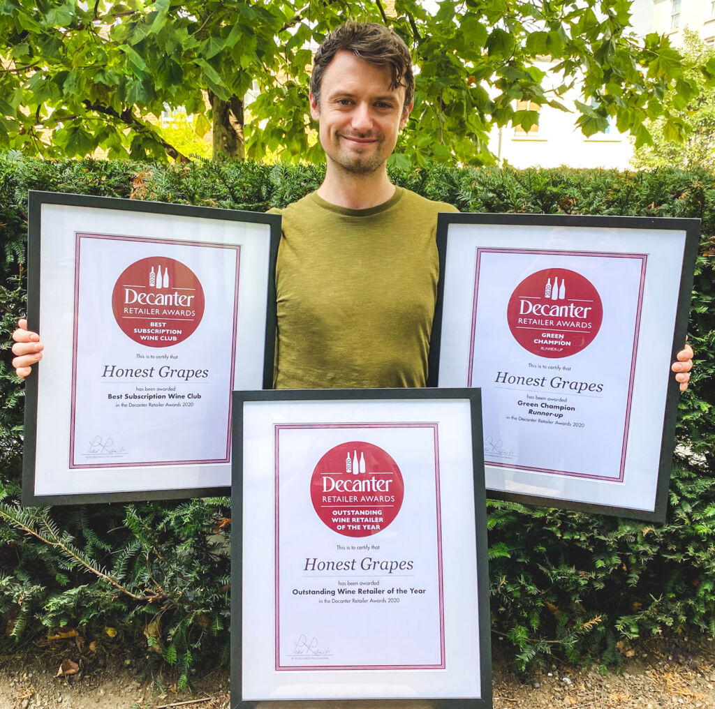 Luke from Honest Grapes with the Decanter Retailer Awards