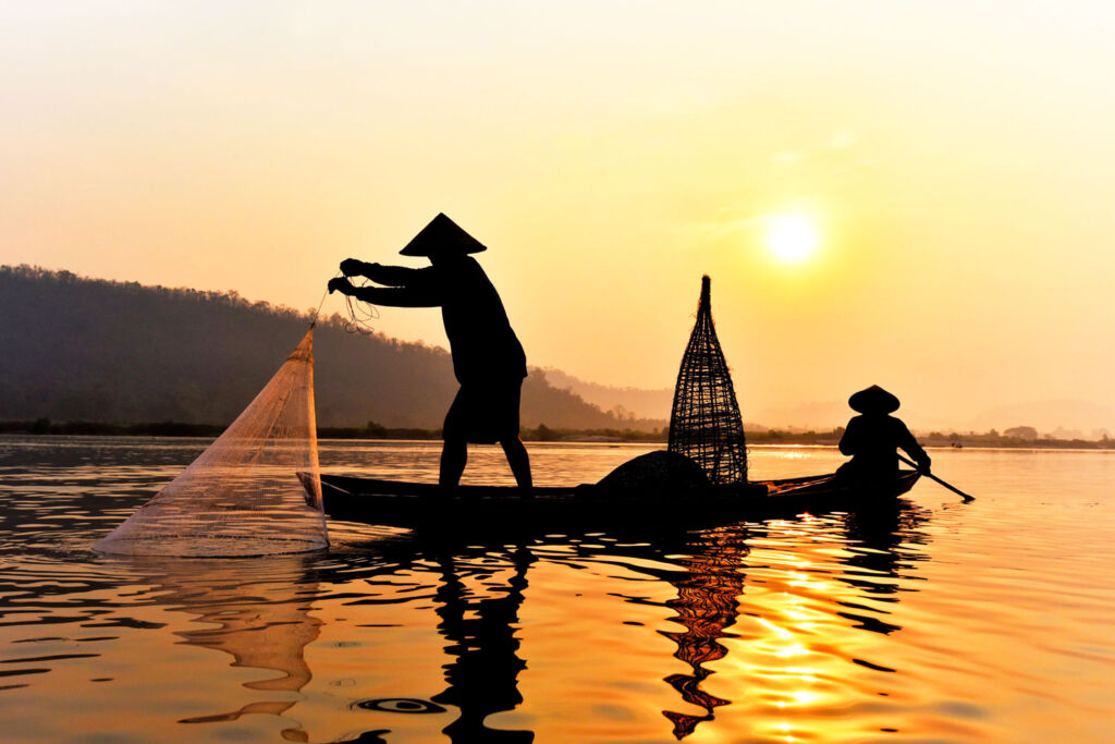 Net fishing on the Mekong River in Cambodia