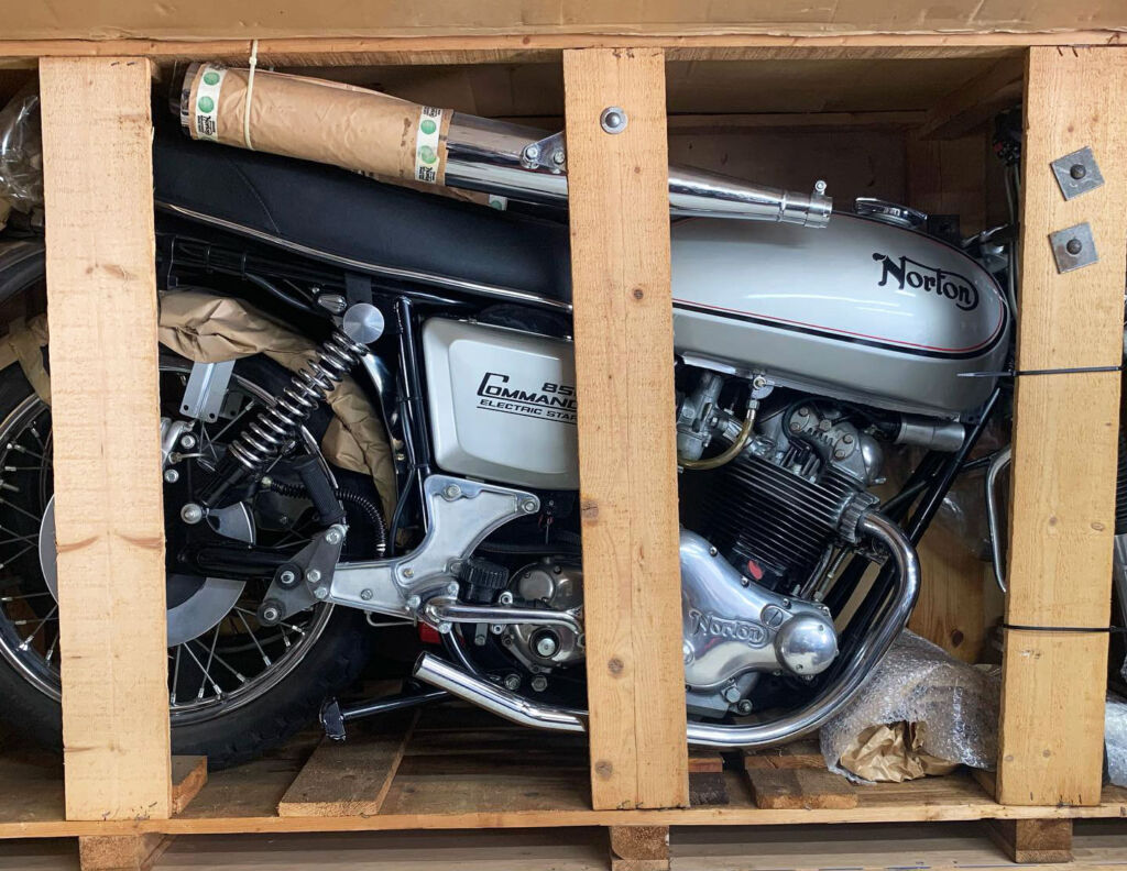 An Untouched and Still Crated 1977 Norton Commando 850