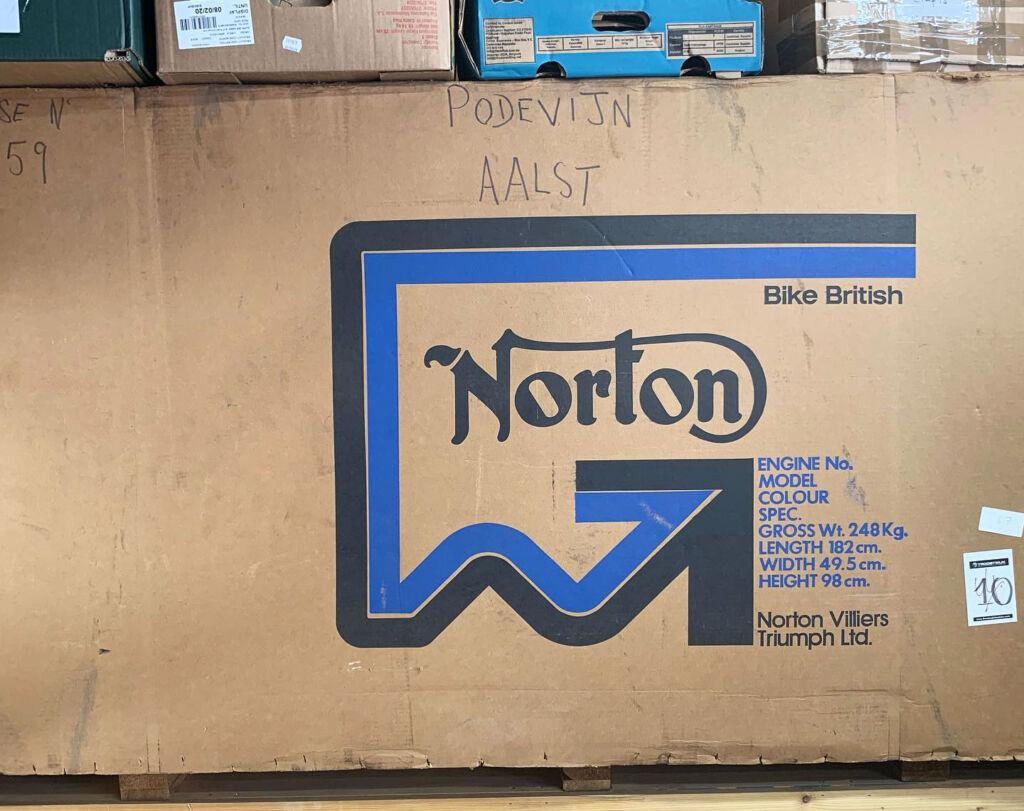 The unopened 1977 Norton Commando 850 in it's original cardboad packaging