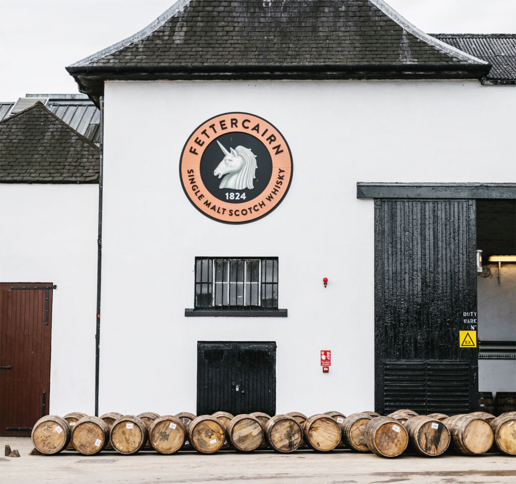 Outside the Fettercairn Distillery