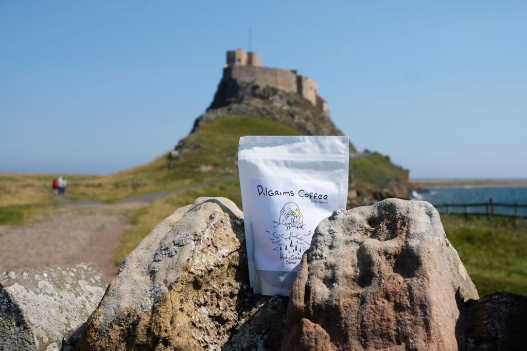 A packet of Pilgrims Coffee Holy Grail on Lindisfarne Island