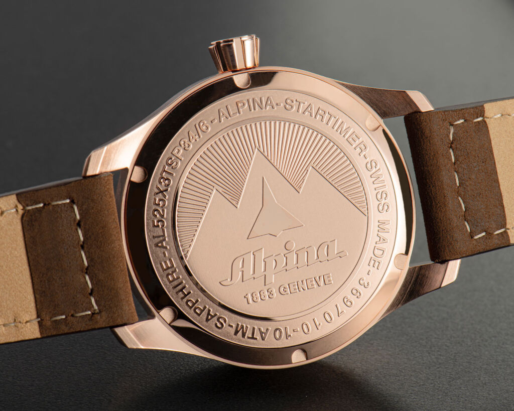 Rose gold plated Alpina Startimer Pilot Automatic caseback