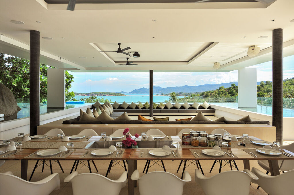 The open plan dining area inside one of the villa's
