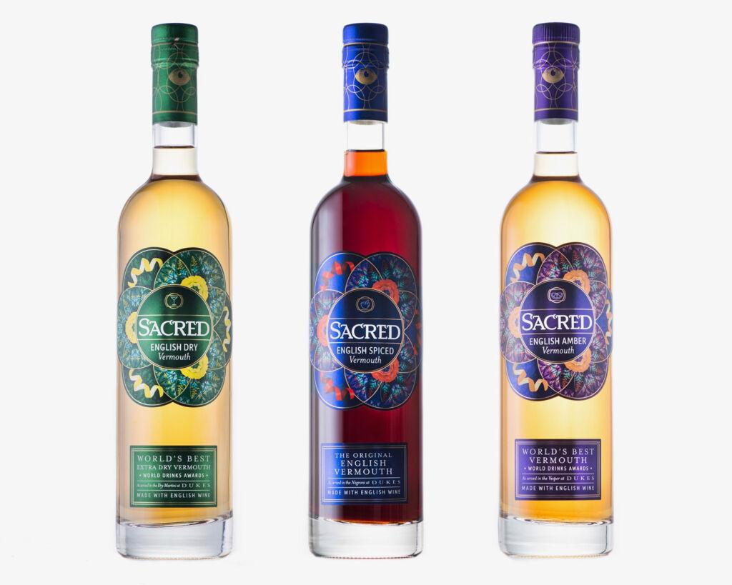 Packshot of the three bottles of Sacred Spirits Vermouth