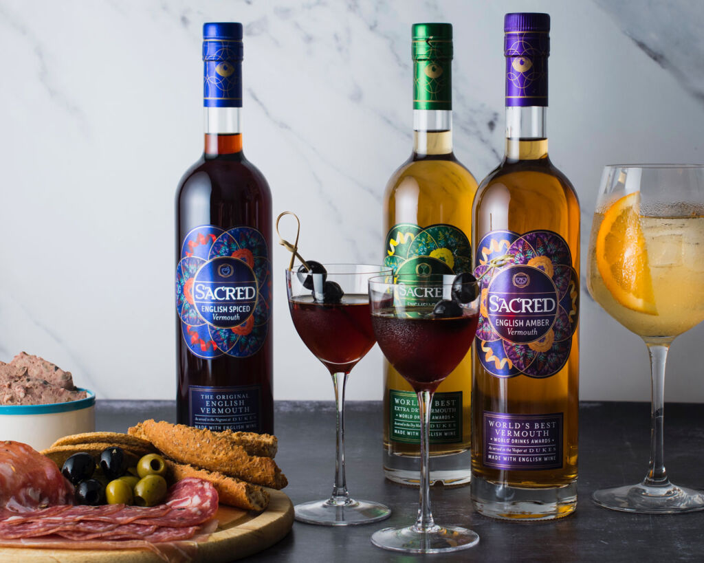 Three bottles of Sacred Spirits Vermouth