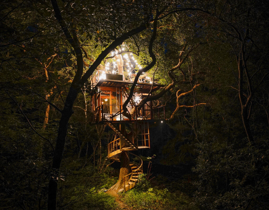 One of the Treeful Treehouse rooms at night
