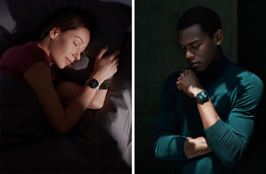 Man and a woman testing the Zepp E Smartwatch battery life