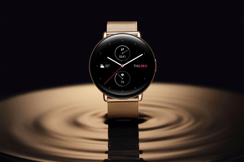 Zepp E Smartwatch on gold mesh strap