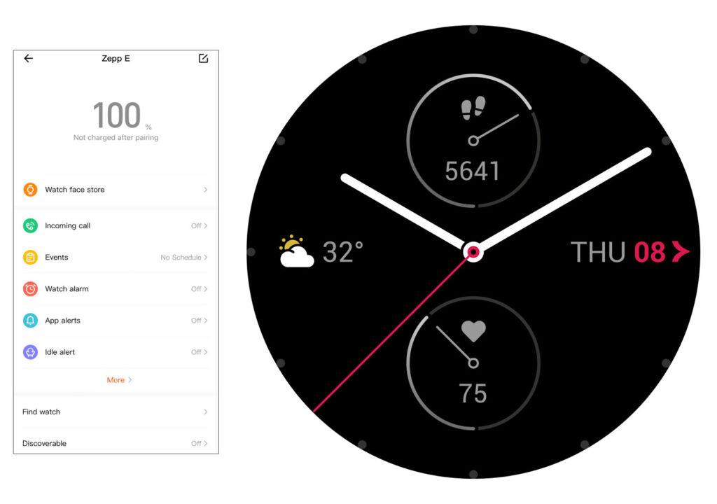 Zepp E smartwatch App and watch face