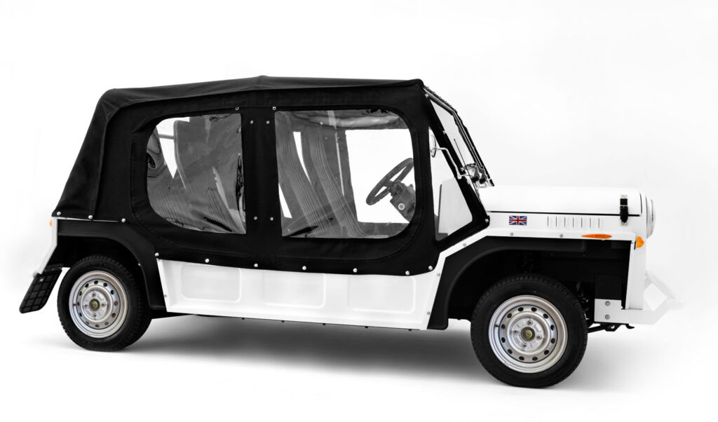 2020 MOKE with hood in black and white colour scheme