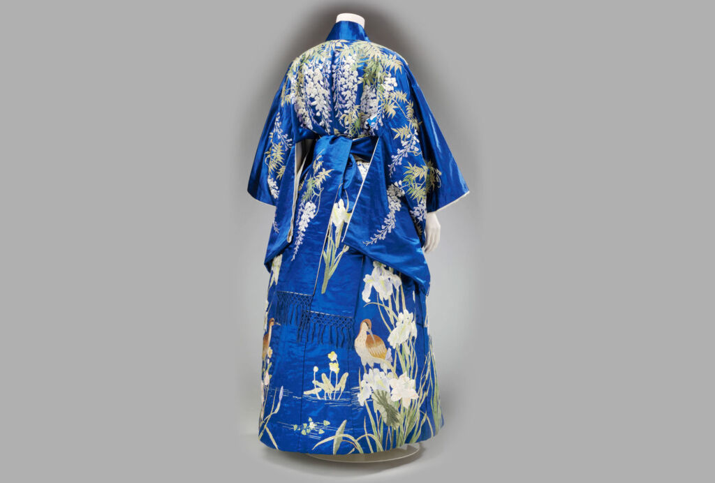 Beautiful blue Japanese antique Kimino on a mannequin