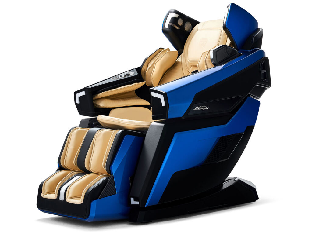 Bodyfriend luxury massage chair in blue and oatmeal