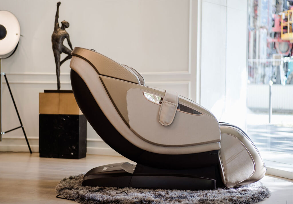 Side view of one of the luxury massage chairs slightly reclined
