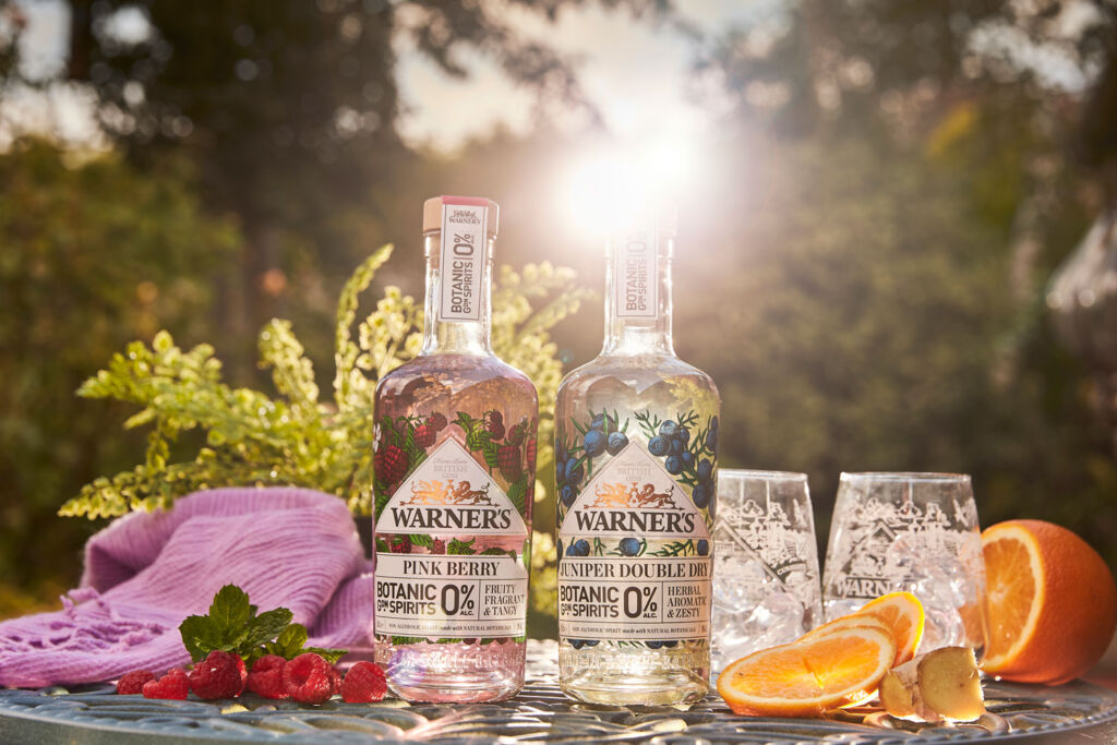 Bottles of Warners Botanical Spirits in the summer sunshine
