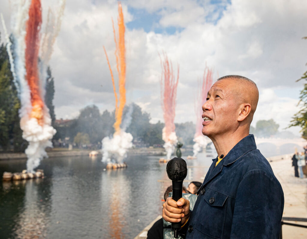 Cai Guo-Qiang at his daytime firework display in France