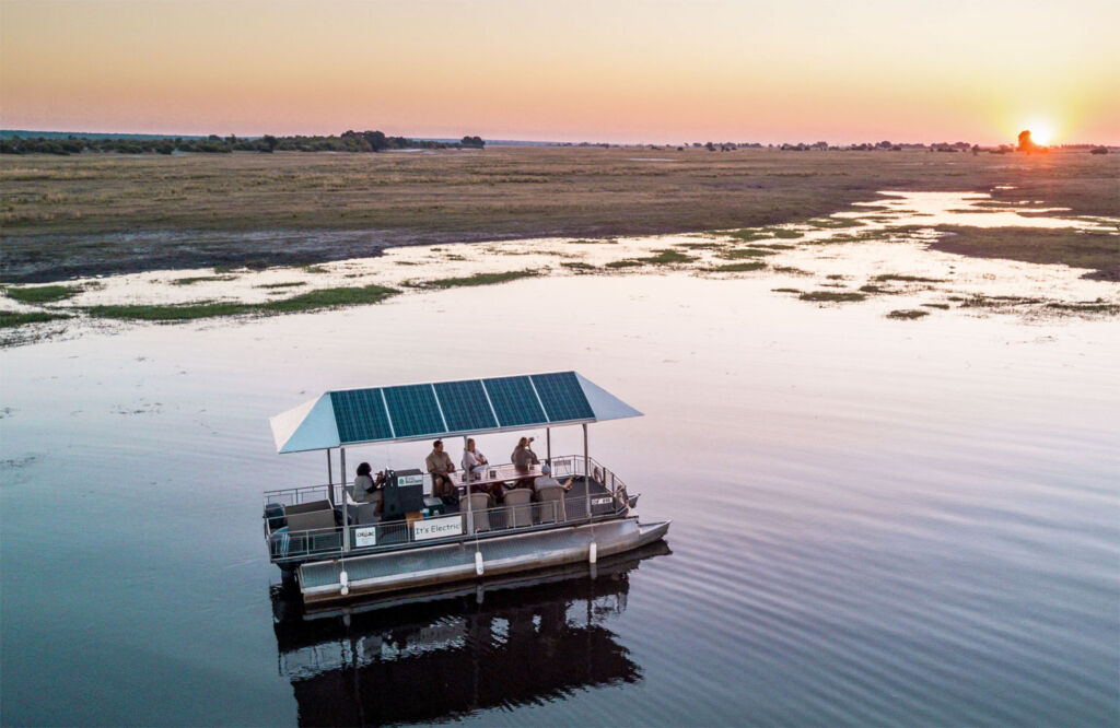 Solar powered boat on an African Safari