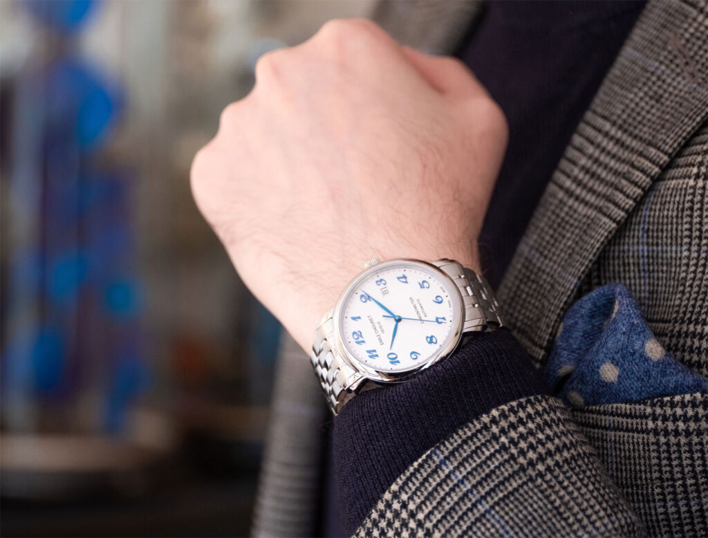 Emile Chouriet's Lac Lèman Chronometer being worn on the wrist