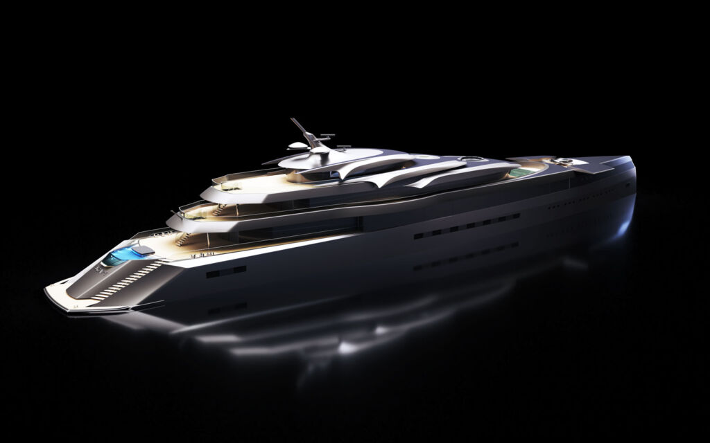 The exterior of the Escape superyacht