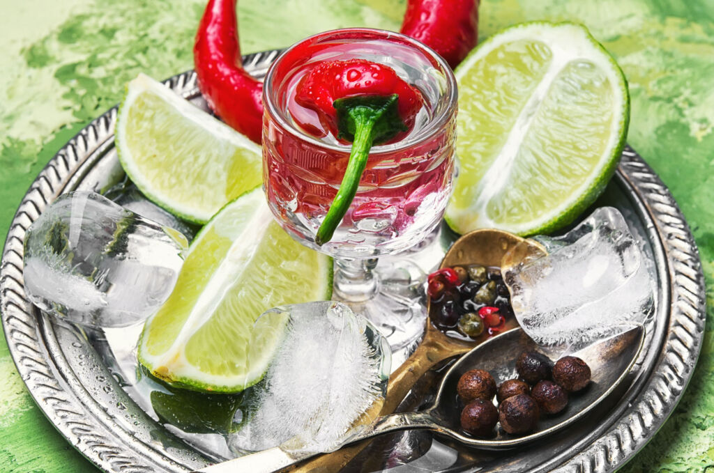 Glass of gin on a silver platter with sliced fruit